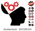 open mind gears pictograph with ... | Shutterstock .eps vector #567105145