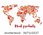 meat products world map.... | Shutterstock .eps vector #567113227