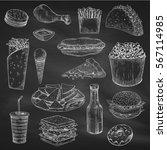 fast food sketch on chalkboard. ... | Shutterstock .eps vector #567114985