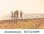 happy young people group have... | Shutterstock . vector #567115699