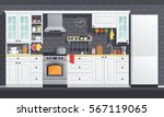 flat kitchen room vector... | Shutterstock .eps vector #567119065
