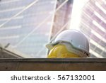 safety y hard hat yell and... | Shutterstock . vector #567132001