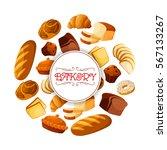 bakery food banner. brick rye... | Shutterstock .eps vector #567133267