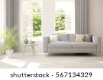white room with sofa and green... | Shutterstock . vector #567134329
