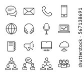 set of communication icons in... | Shutterstock .eps vector #567138691