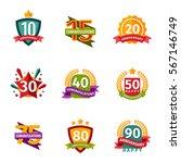 happy birthday badges vector... | Shutterstock .eps vector #567146749