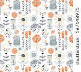 colorful seamless floral pattern   Shutterstock .eps vector #567148975