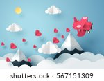 Paper art of pink plane flying and scatter heart in the sky, origami and valentine's day concept, vector art and illustration. | Shutterstock vector #567151309