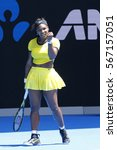 Small photo of MELBOURNE, AUSTRALIA - JANUARY 24, 2016: Twenty one times Grand Slam champion Serena Williams in action during her round 4 match at Australian Open 2016 at Rod Laver Arena in Melbourne