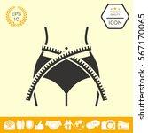 women waist with measuring tape ... | Shutterstock .eps vector #567170065