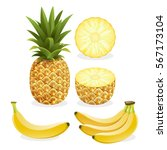 pineapple and banana fruit.... | Shutterstock .eps vector #567173104