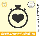 stopwatch with heart symbol  ... | Shutterstock .eps vector #567173659
