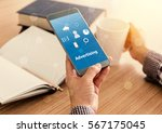 advertising concept. man... | Shutterstock . vector #567175045
