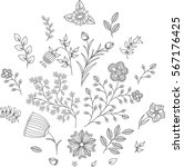 set of floral elements. black... | Shutterstock .eps vector #567176425