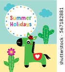 cute horse summer holidays... | Shutterstock .eps vector #567182881