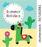 cute horse summer holidays... | Shutterstock .eps vector #567182881