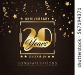 20th anniversary golden... | Shutterstock .eps vector #567194371