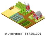 farm with building  mill and... | Shutterstock .eps vector #567201301