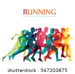 running marathon  people run ... | Shutterstock .eps vector #567203875