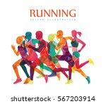 running marathon  people run ... | Shutterstock .eps vector #567203914