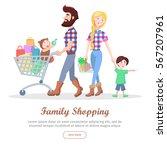 family shopping banner. hipster ... | Shutterstock .eps vector #567207961