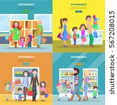 happy families have shopping in ... | Shutterstock .eps vector #567208015