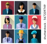 set of different professions in ... | Shutterstock .eps vector #567209749