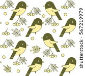 cute birds with yellow breasts... | Shutterstock .eps vector #567219979