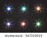 fireballs colourful set on dark ... | Shutterstock .eps vector #567223015