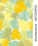 monstera seamless background.... | Shutterstock .eps vector #567225931