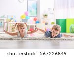 cute funny children playing on... | Shutterstock . vector #567226849