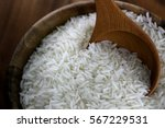 Thailand Rice In Wooden Bowl