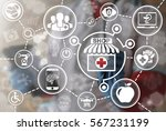 pharmacy shop it integration... | Shutterstock . vector #567231199