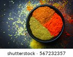 Colorful Various Spices In...