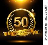 template golden 50th logo... | Shutterstock .eps vector #567234364