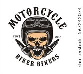 skull motorcycle and spark plugs | Shutterstock .eps vector #567242074
