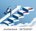 businessman riding growth arrow ... | Shutterstock .eps vector #567242437