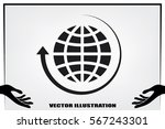 globe and arrow icon vector eps ... | Shutterstock .eps vector #567243301