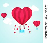 creative heart shaped hot air... | Shutterstock .eps vector #567246529