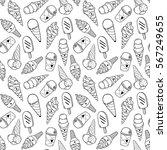 seamless ice cream pattern ... | Shutterstock .eps vector #567249655