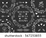collection of vector wreaths ... | Shutterstock .eps vector #567253855