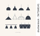 set of silhouettes of the lamps ... | Shutterstock .eps vector #567268141