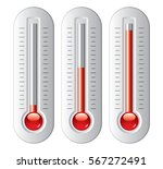 Vector Set Of Thermometers Wit...