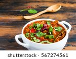 turkey chili. stewed with black ...   Shutterstock . vector #567274561
