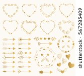 collection of golden arrows ... | Shutterstock .eps vector #567285409