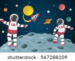 astronaut cartoon on the moon... | Shutterstock .eps vector #567288109