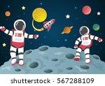 astronaut cartoon on the moon... | Shutterstock .eps vector #567288109