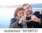 romantic lovers couple having... | Shutterstock . vector #567289717