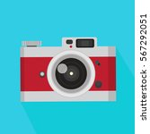 red vintage camera  in a flat... | Shutterstock .eps vector #567292051