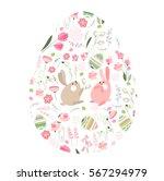 egg shape with spring flowers ... | Shutterstock .eps vector #567294979
